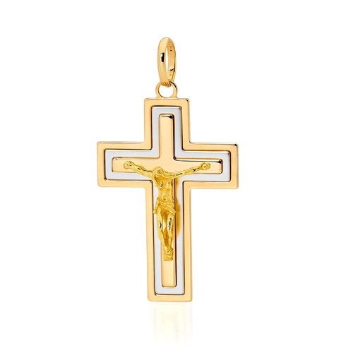18KT Yellow and White Gold Square Shape Cross Pendant - Size 42x30mm