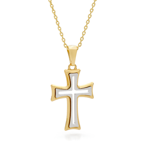 18KT Yellow and White Gold Point Edge Shape Cross Pendant