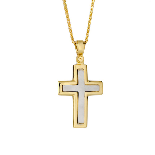 18KT Yellow and White Gold 2 Tone Cross 16.5x12