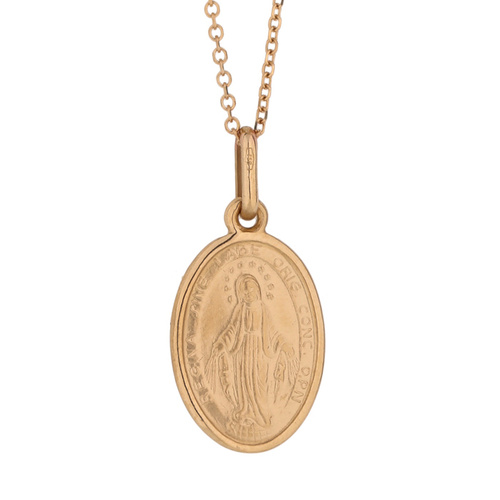 18KT Rose Gold Our Lady of Miraculous Medal Pendant