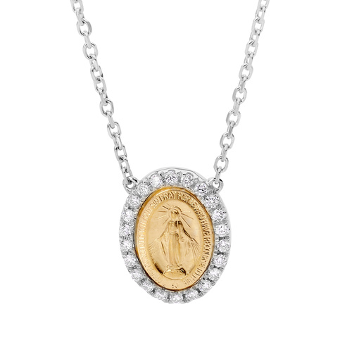 18KT Yellow And White Lady of Miraculous Diamond Medal Necklace