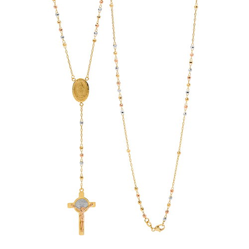 18KT Yellow/White/Rose Gold Diamond Cut Rosary Bead Necklace