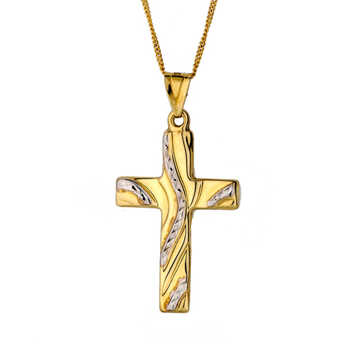 9KT White/Yellow Gold Cross Pendant