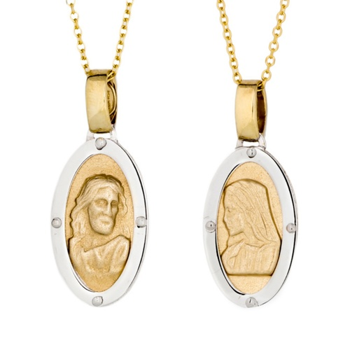 9KT Yellow and White Gold  Jesus and Mary Pendant Oval