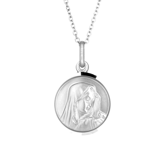 9KT White Gold Our Lady of Sorrow Medal Pendant