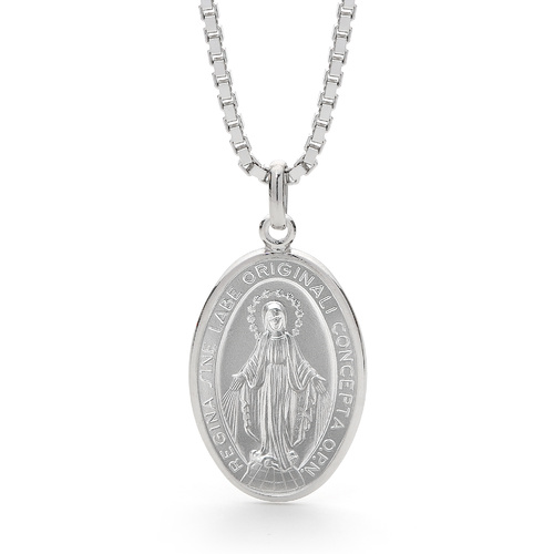 Sterling Silver Our Lady of Miraculous Medal Box Chain Necklace