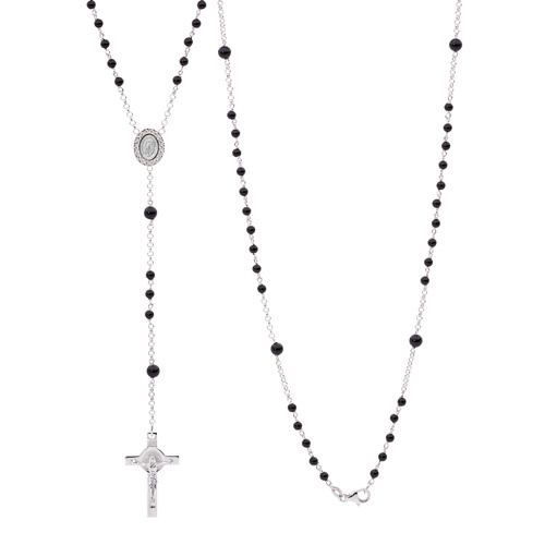 Sterling Silver Black Onyx Rosary Bead Necklace